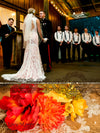 Bohemian Wedding Dress with Ruched Chapel Train