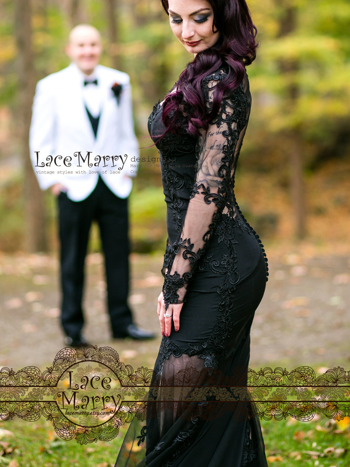 Black Wedding Dress with Long Sleeves
