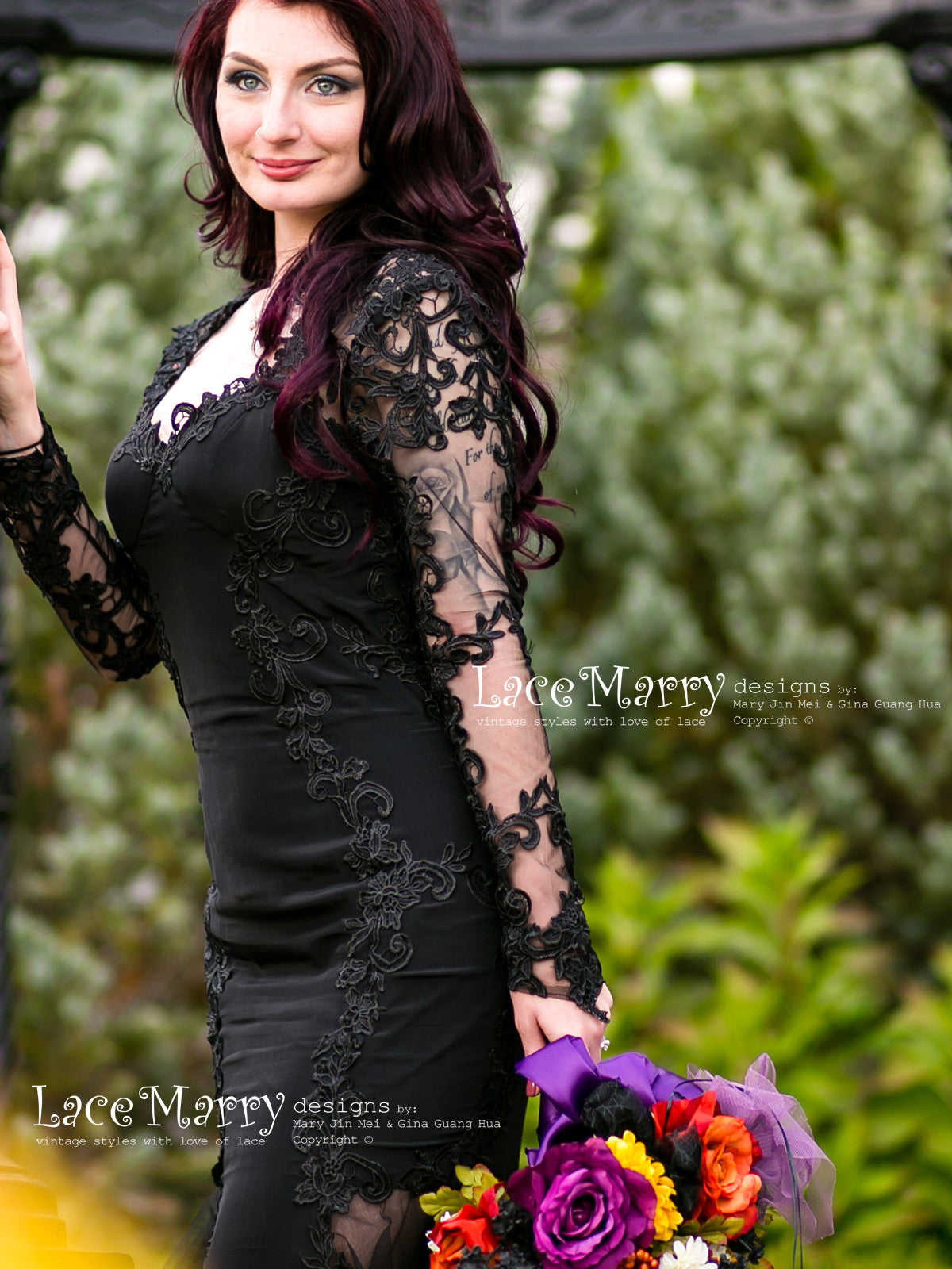 Black Wedding Dress with Feminine Sweetheart Neckline and Long Sleeves