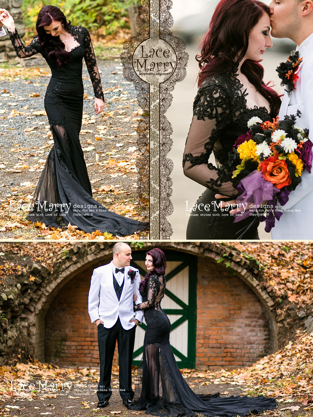 Exclusive Black Lace Wedding Dress with Sheer Sleeves