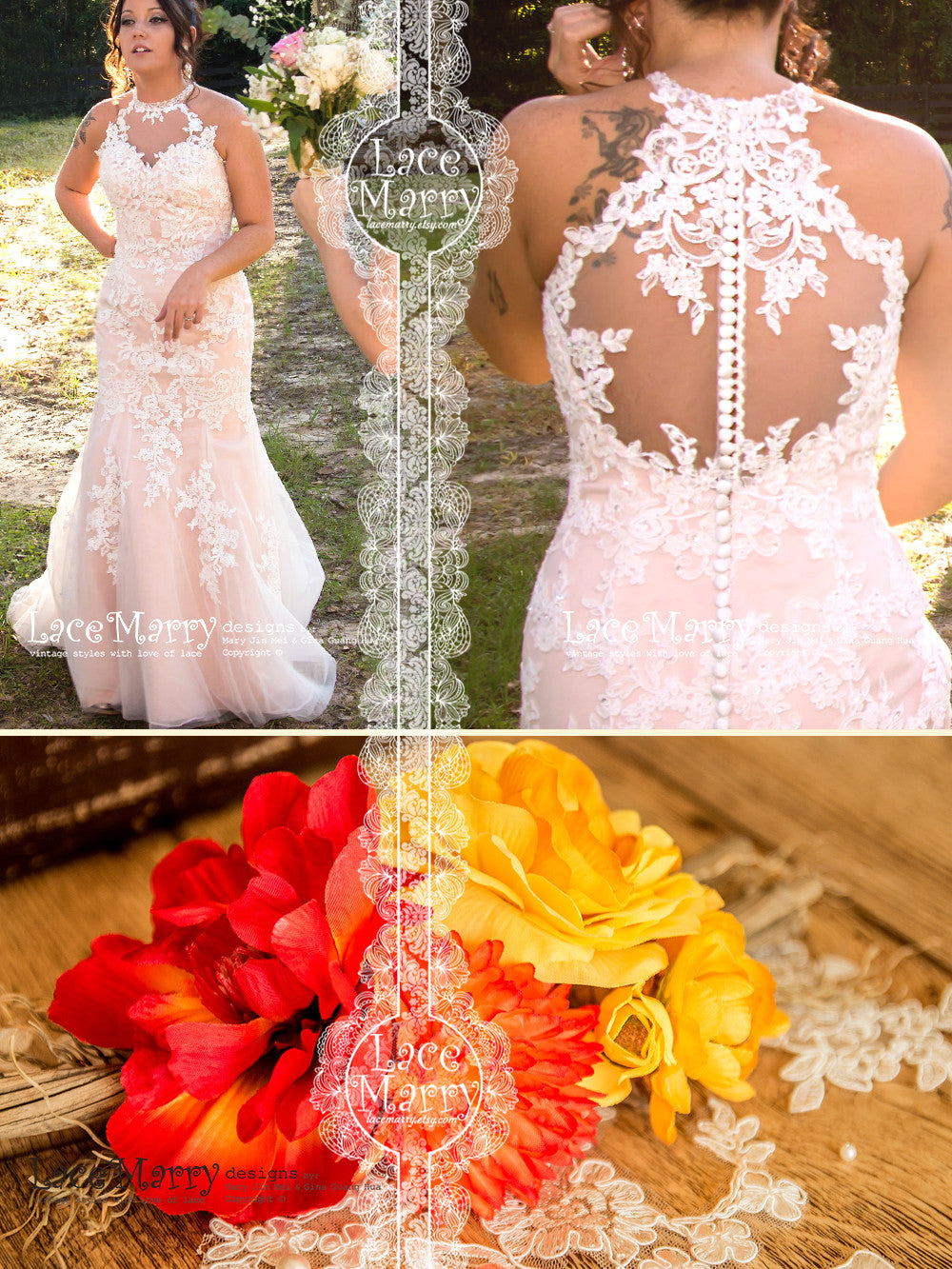 Blush Wedding Dress with Sheer Lace Back