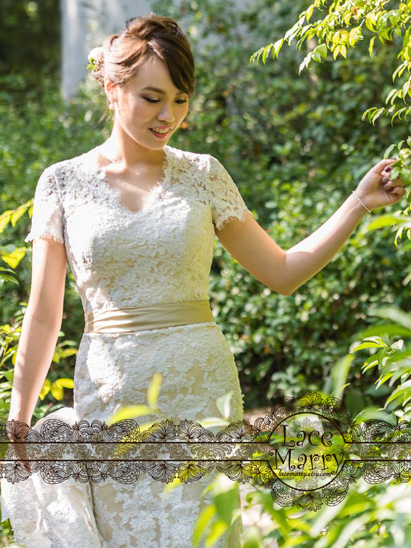 Wedding Dress with Short Lace Sleeves