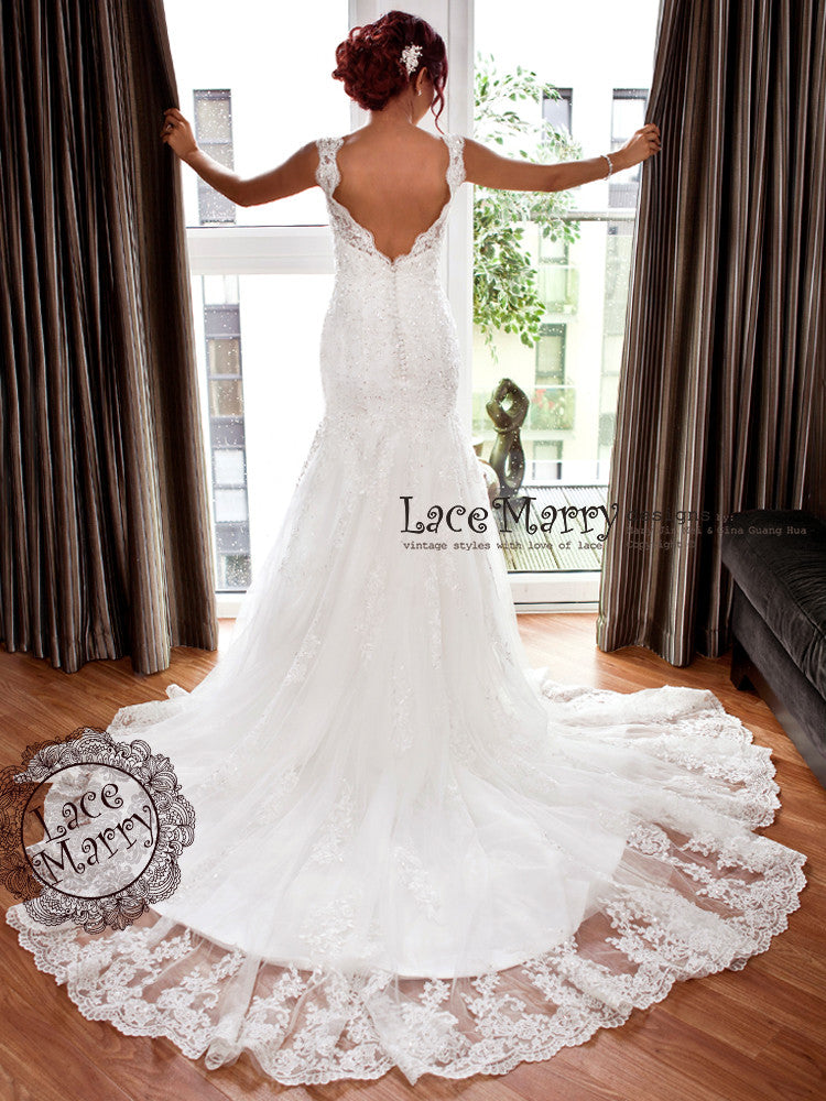 V Cut Back Cathedral Train Lace Wedding Dress