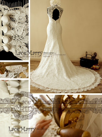 Stunning Lace Wedding Dress with Wide Lace Straps and Brooch on the High Waist
