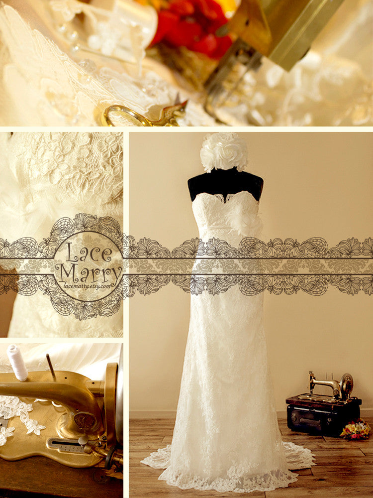 Slim A-Line Style All Over Lace Wedding Dress