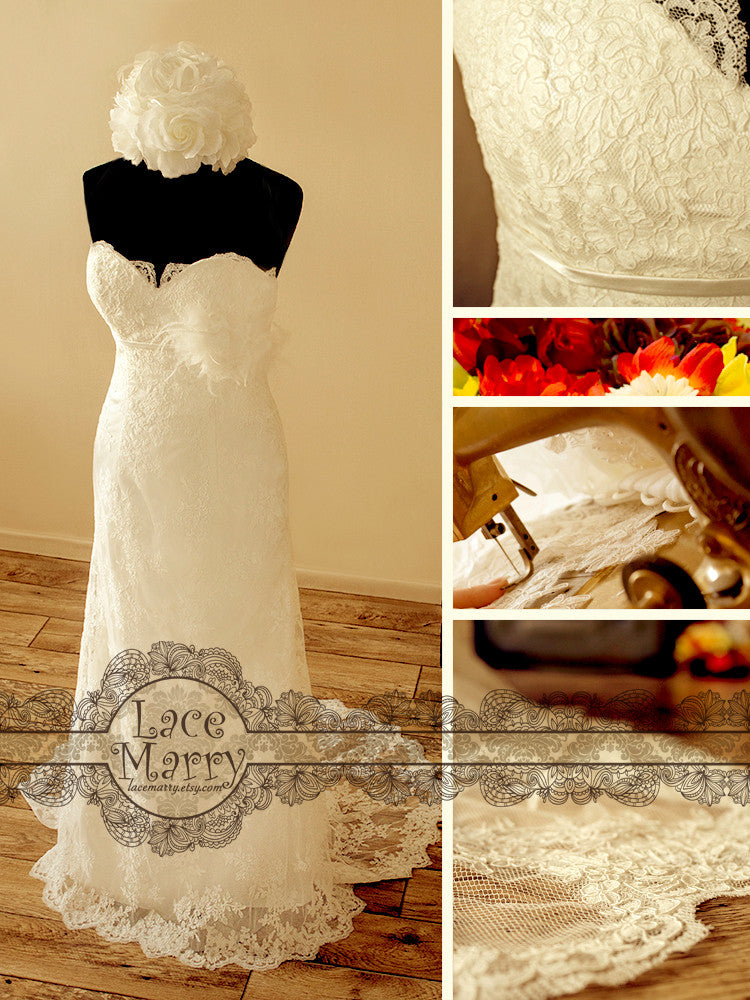Lace Wedding Dress with Scalloped Neckline