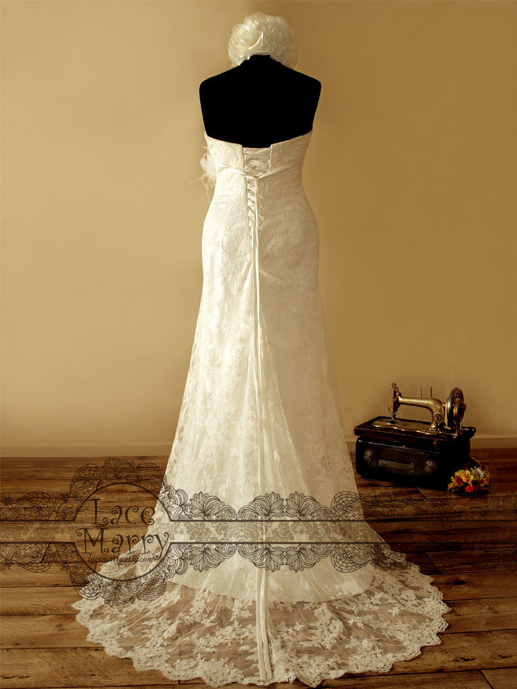 Lace Train Wedding Dress with Lace up Back