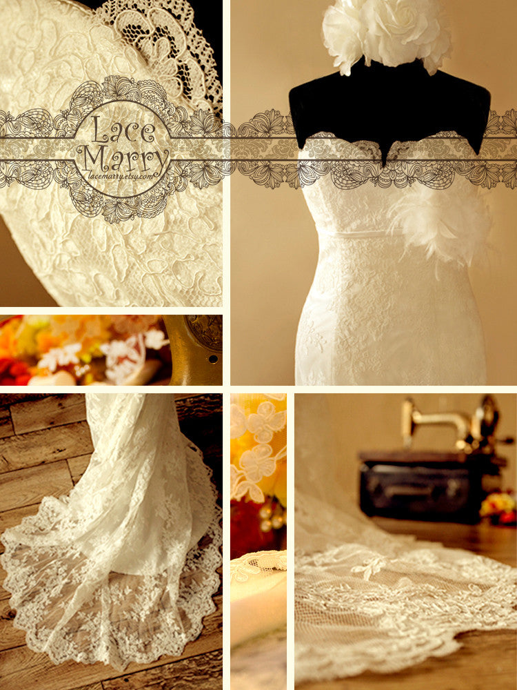 Fit and Flare Style Lace Wedding Dress