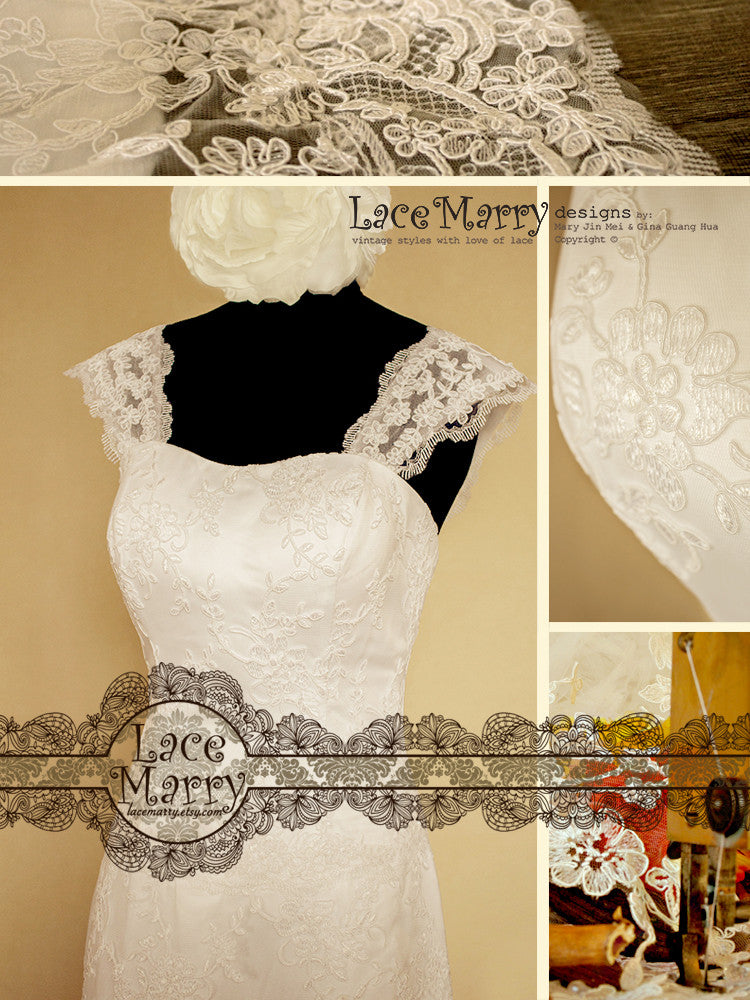 Elegant Lace Wedding Dress with Lace Straps