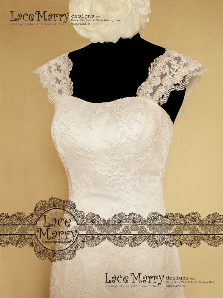 Slim A-Line Wedding Dress with Lace Straps