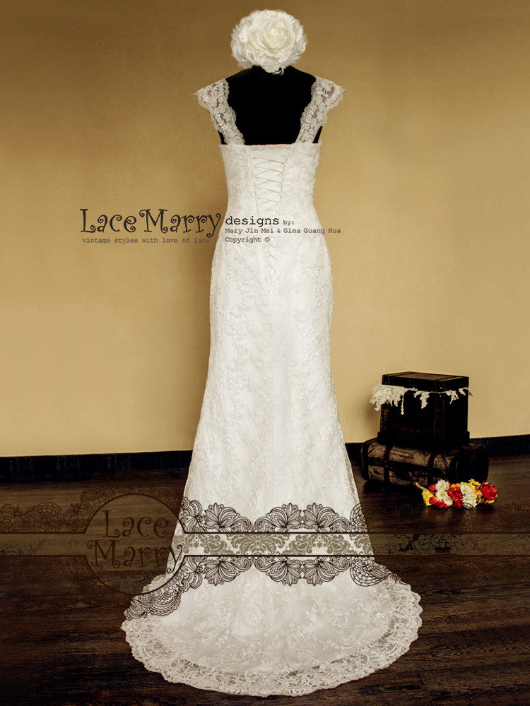 Slim A Line Silhouette Lace Wedding Dress with Wide Lace Straps