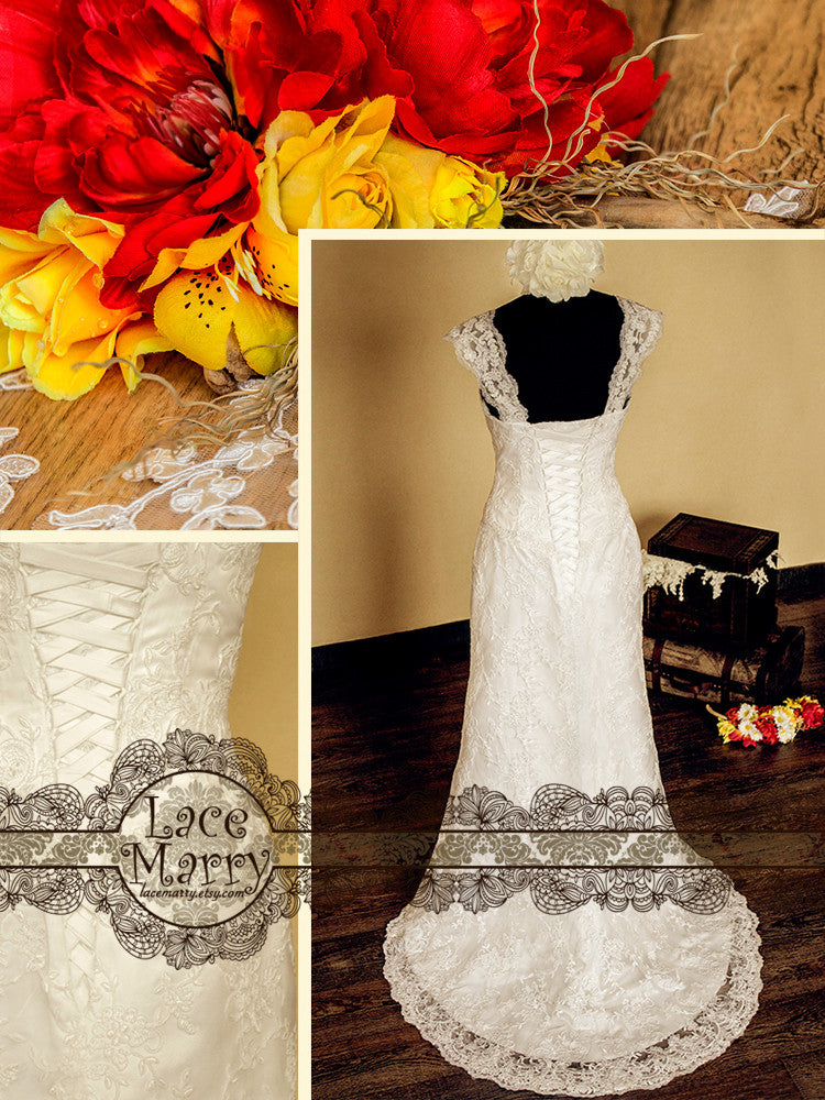 Slim A-Line Style Wedding Dress with Lace Cap Sleeves