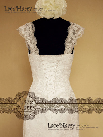 Cap Sleeves Wedding Dress with Corset Back Design