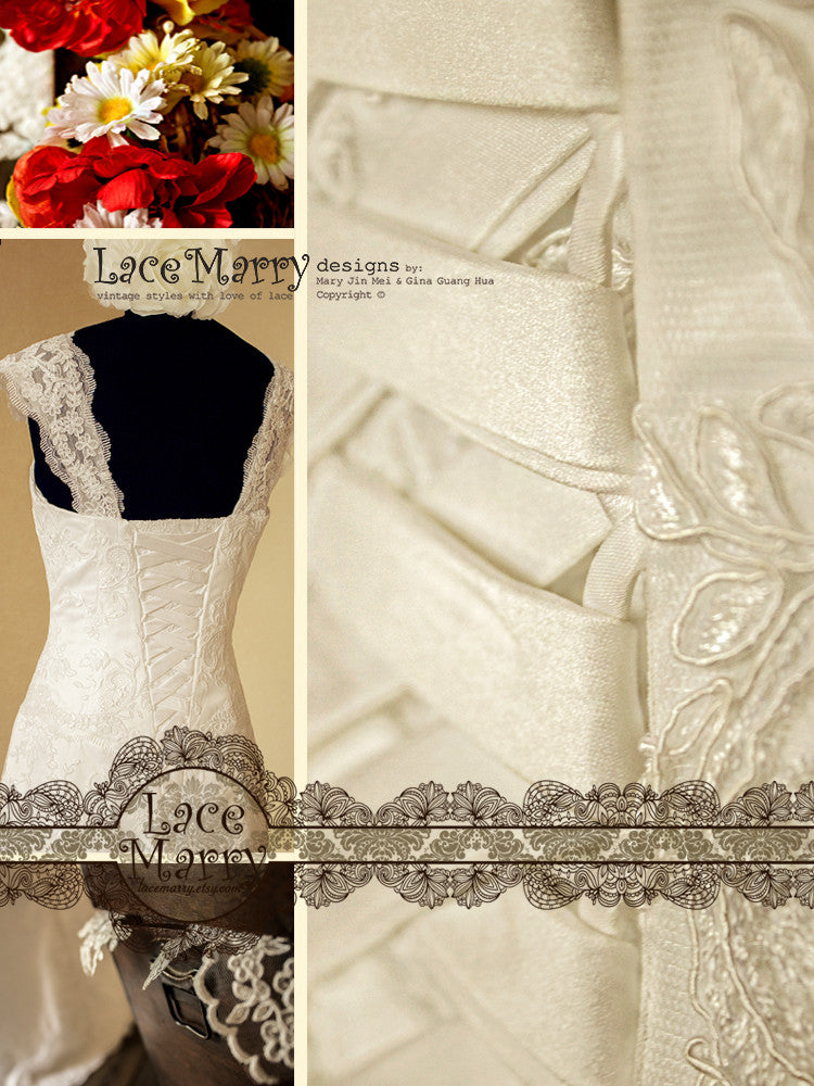 Wedding Gown with Lace Straps