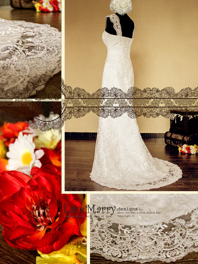 Lace-up Back Wedding Dress in Full Lace Design