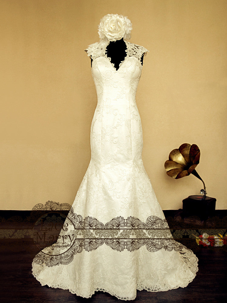 Elegant Lace Wedding Dress with Wide Straps and V Neckline