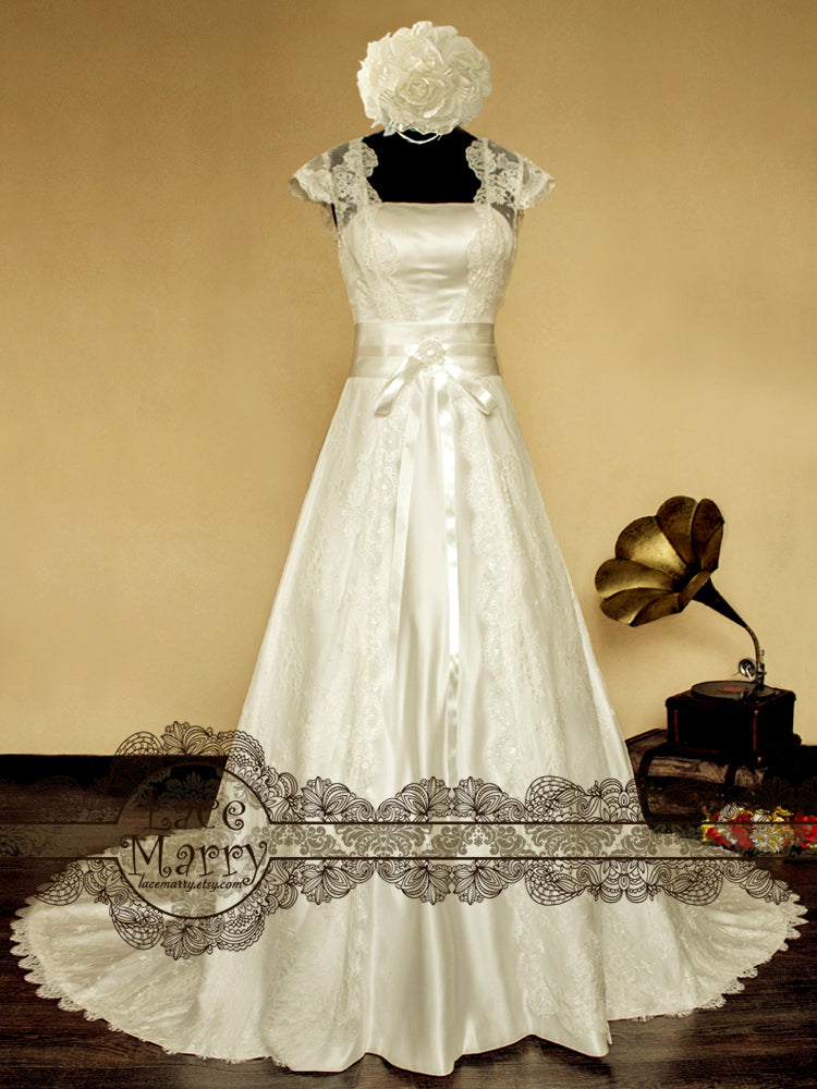 Wide A Line Wedding Dress with Lace Cap Sleeves and Cathedral Train