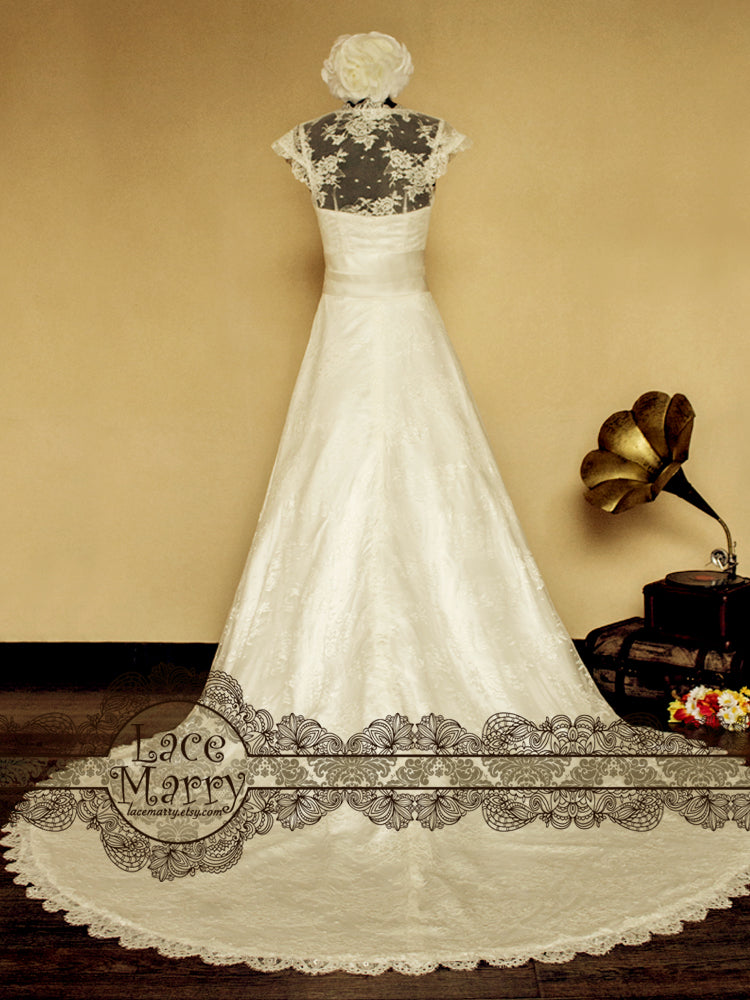 Sheer Lace Back Wedding Dress with Long Lace Train