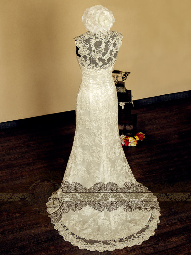 Cap Sleeves Wedding Dress from Macrame Lace