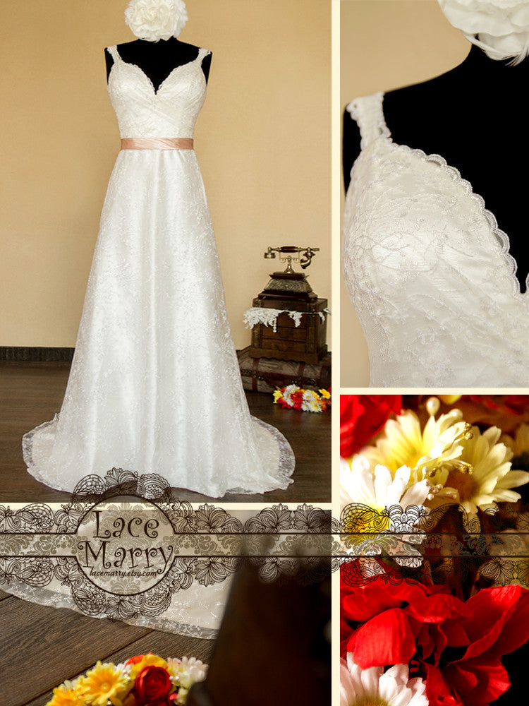 Sheath Style Lace Wedding Dress