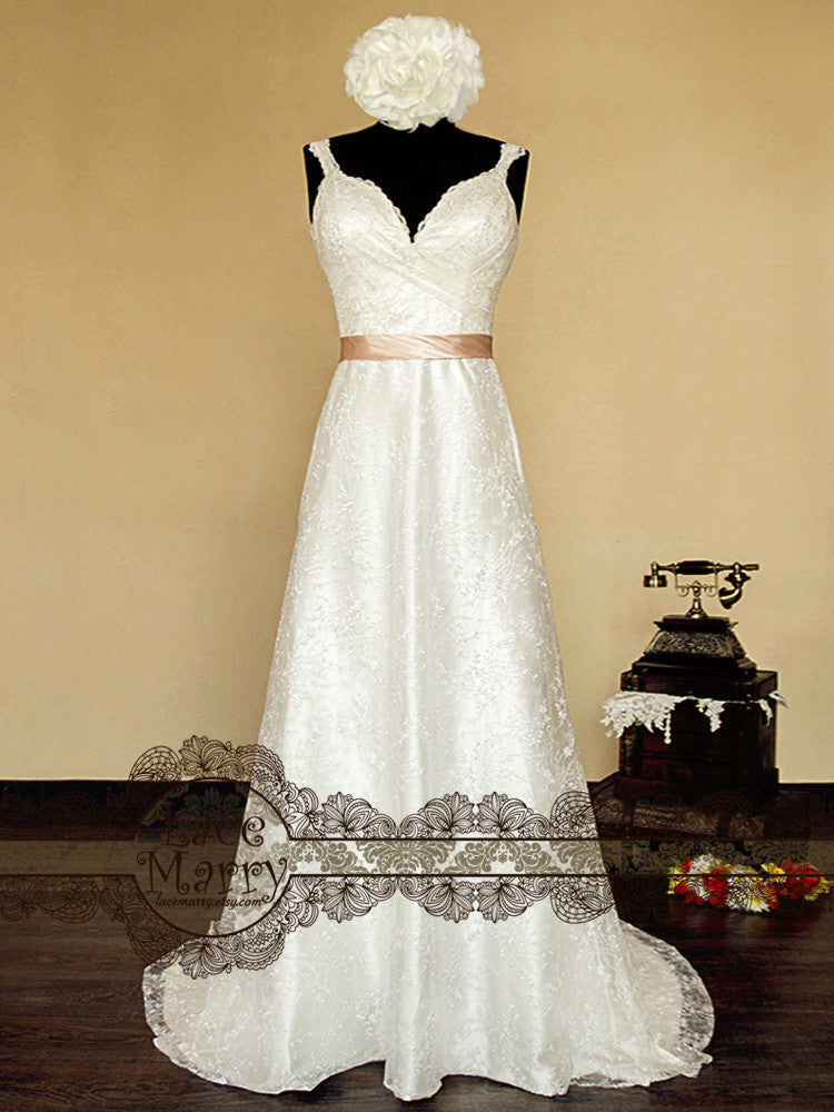 A Line Style Lace Wedding Dress with Straps and Deep V Neckline