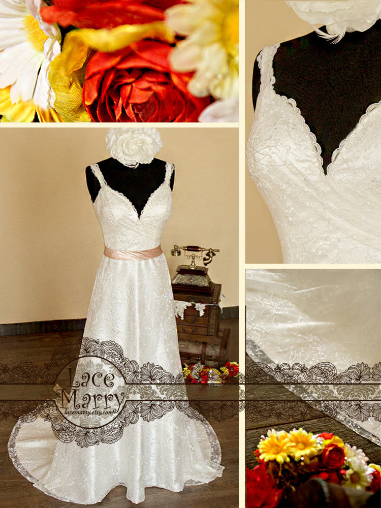 Sheath Style Deep Neckline Lace Wedding Dress