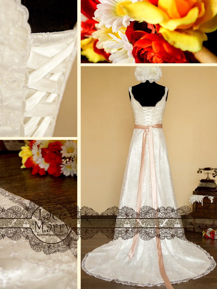 Sheath Style Wedding Dress with Satin Sash