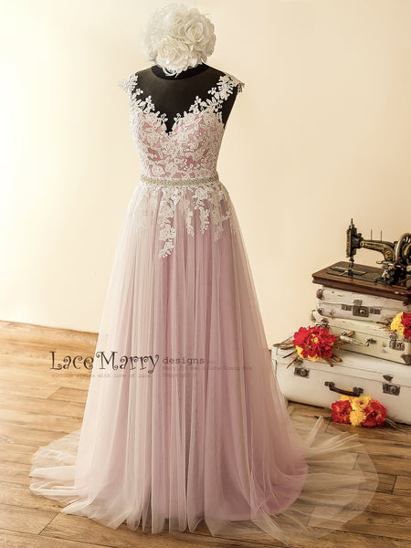 Lilac Color Boho Wedding Dress