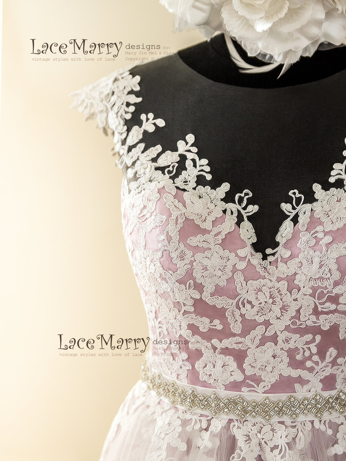 Sheer Neckline Wedding Dress