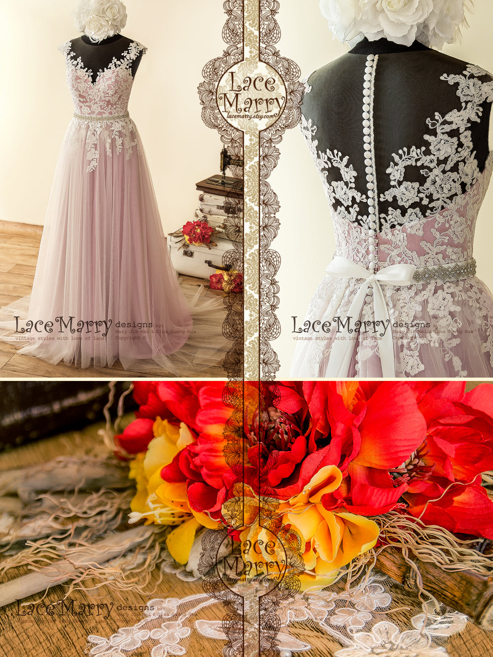 Bohemian Wedding Dress with Lilac Underlay