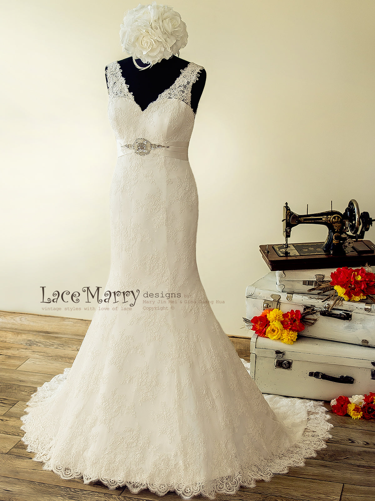 Lace Wedding Dress with V Neckline and Hand Beaded Brooch