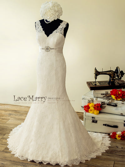 d45ee9d5c Lace Wedding Dress with V Neckline and Hand Beaded Brooch - LaceMarry