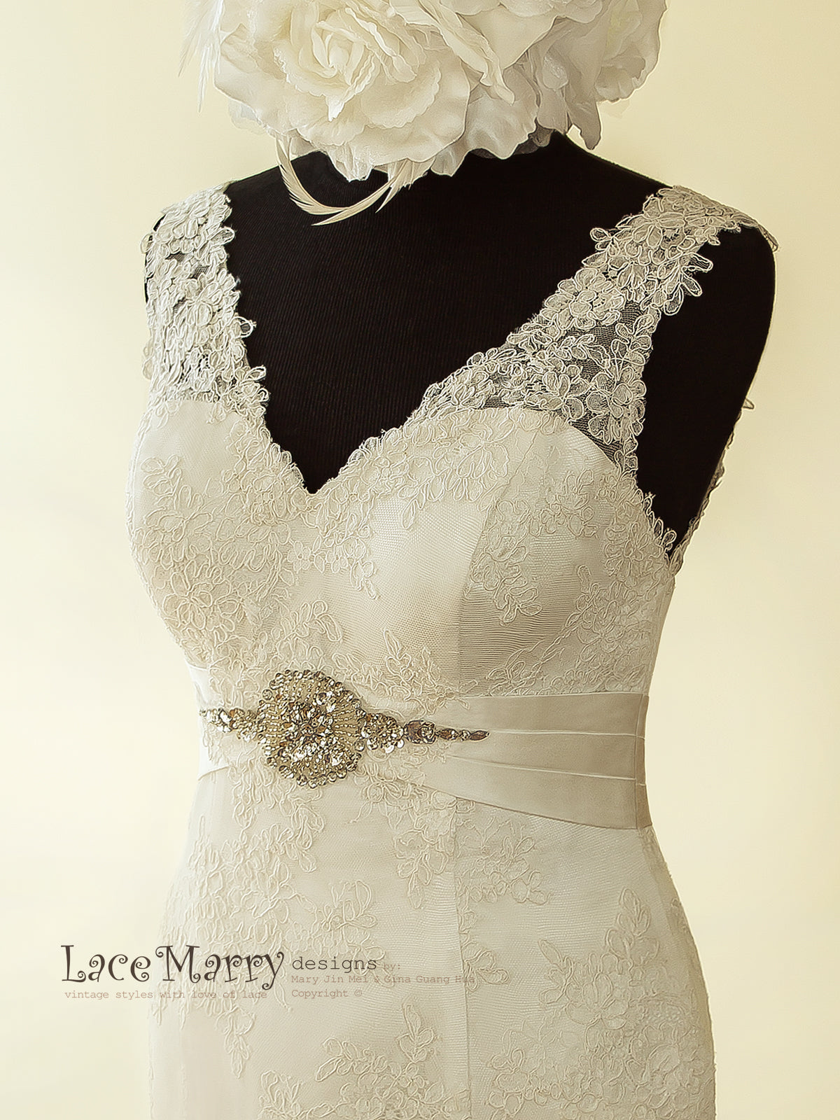 Wedding Dress with Satin Detail on the Waist