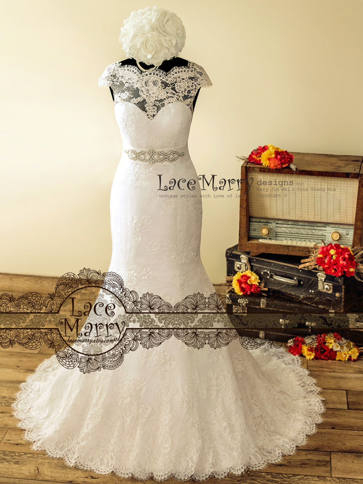 Trumpet Style Lace Wedding Dress