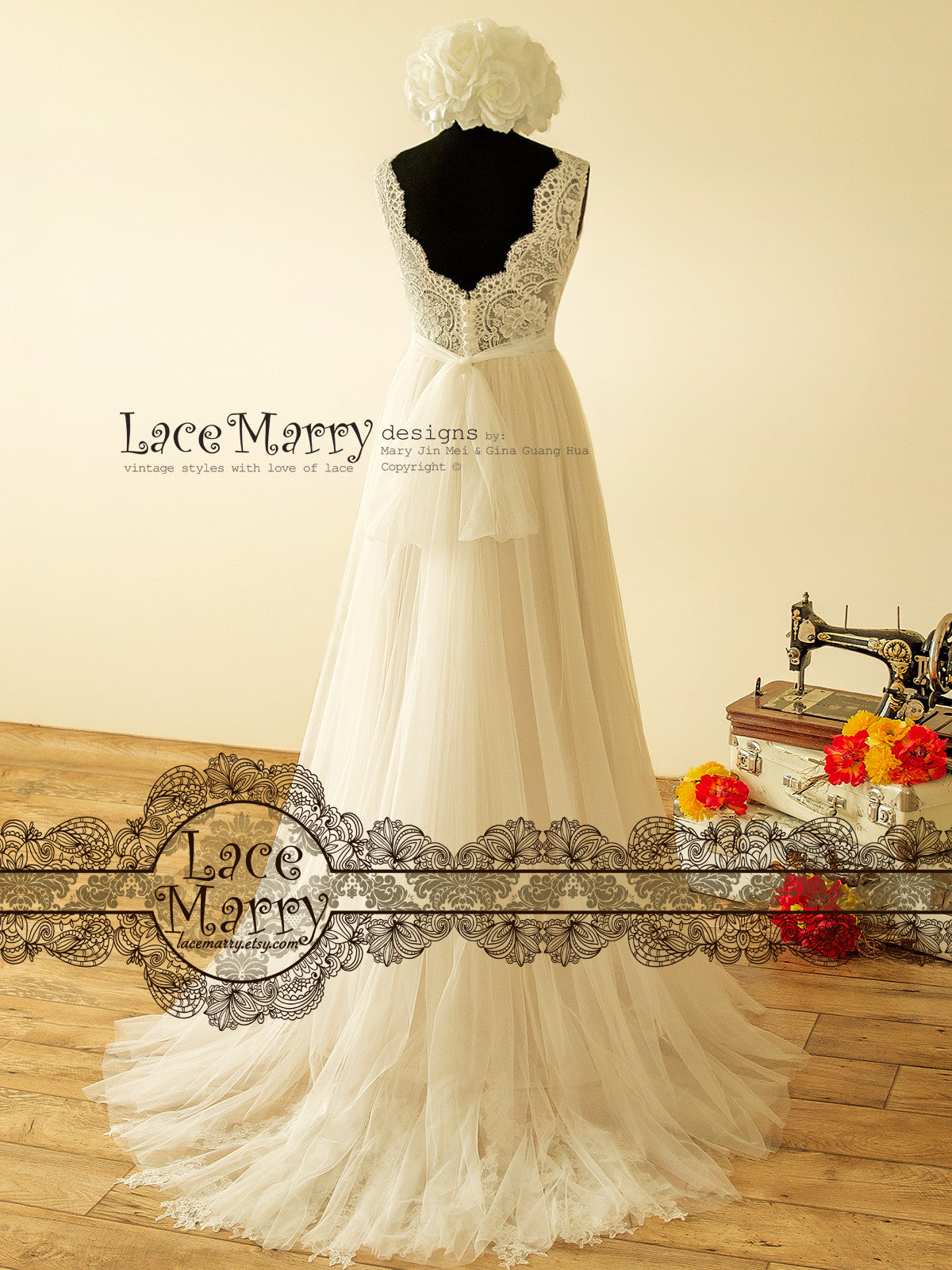 Sheer French Lace Boho Wedding Dress