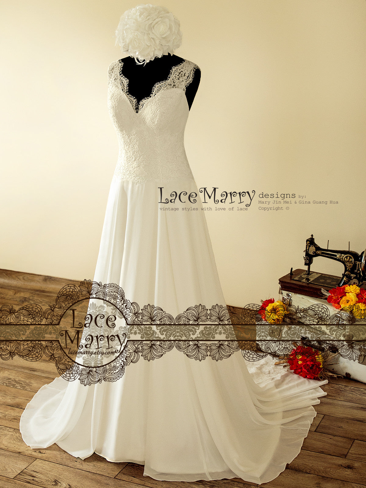 French Lace Boho Wedding Dress