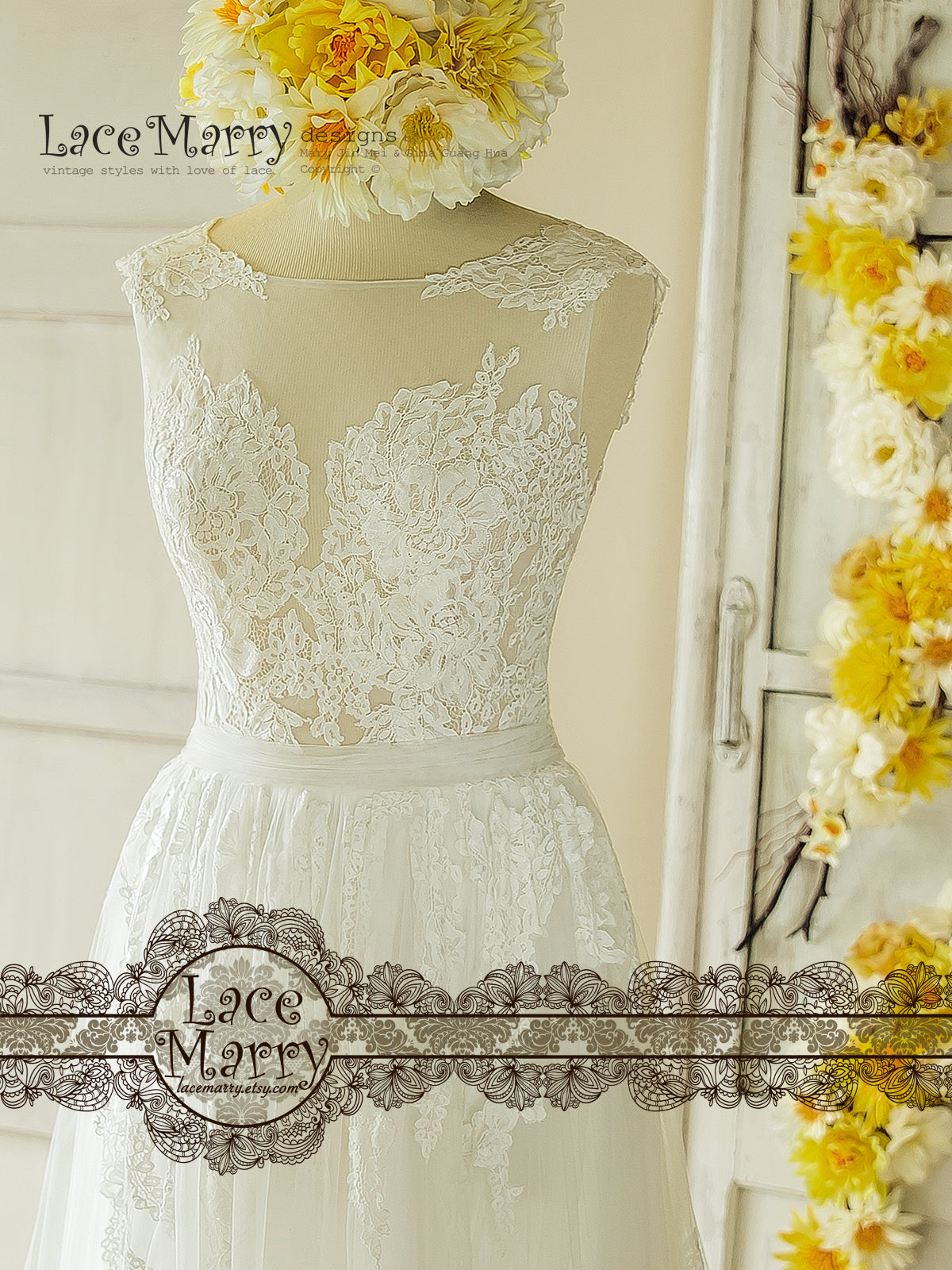 French Lacy Applique Wedding Dress
