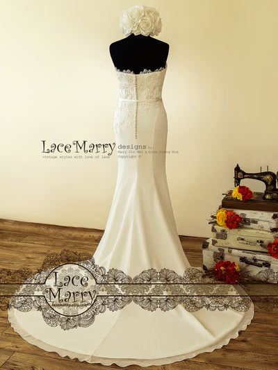 Strapless Wedding Dress with Chapel Train