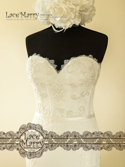 Embroidered Sweetheart Bodice Wedding Dress