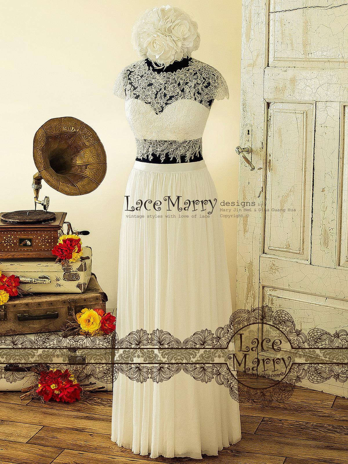 Two Piece Wedding Dress, Sheer Lace Crop Top with Bustier
