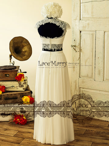 Two Piece Ivory Wedding Dress