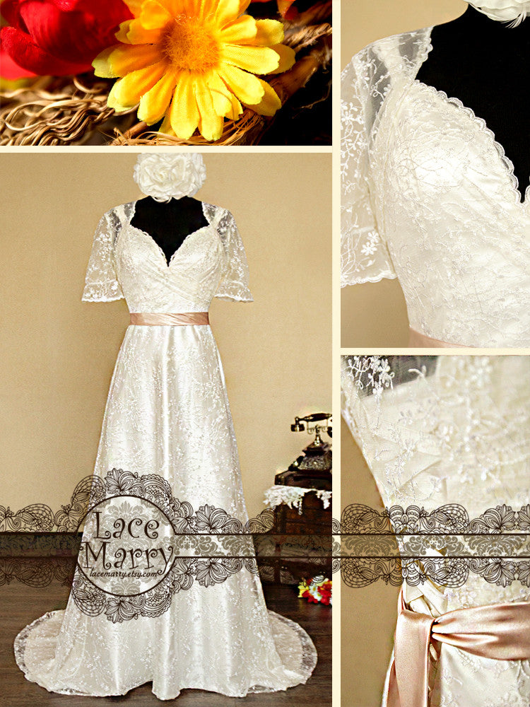 Sheath Style Lace Wedding Dress with Lace Bolero