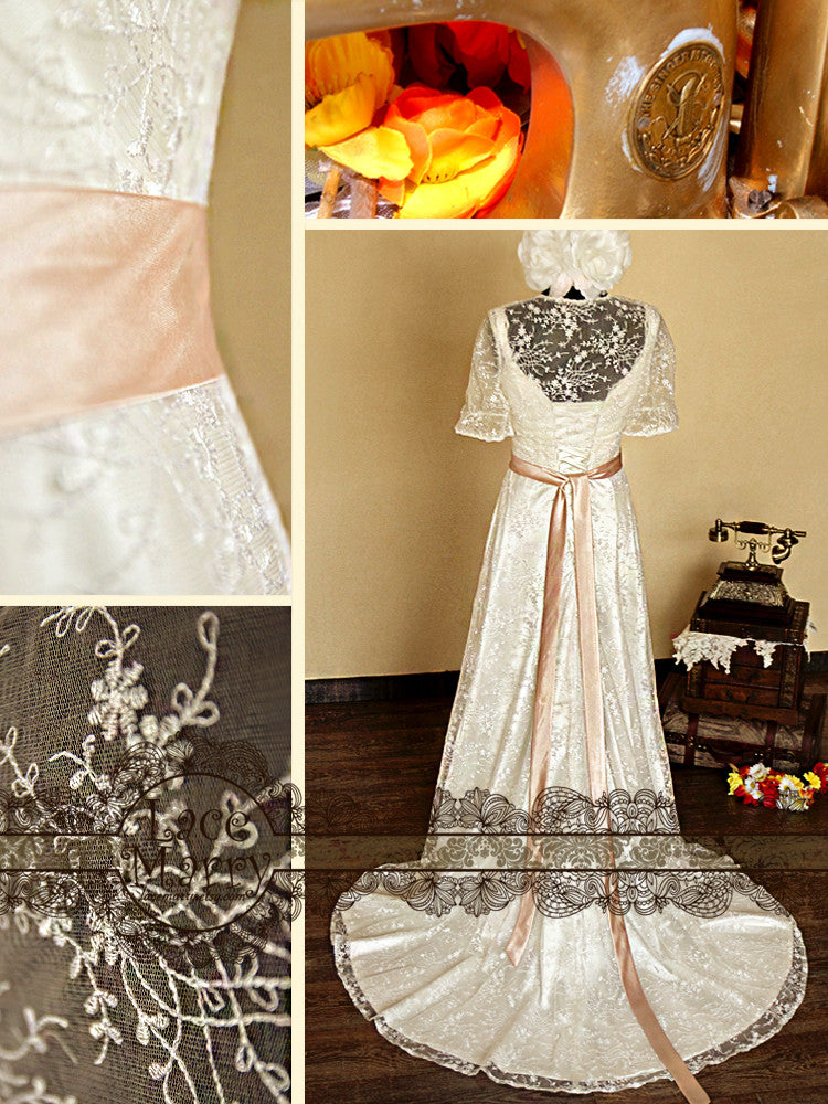 Elegant Wedding Dress in Sheath Style with Satin Sash