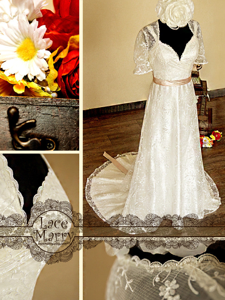 Light Lace Wedding Dress with Lace Bolero
