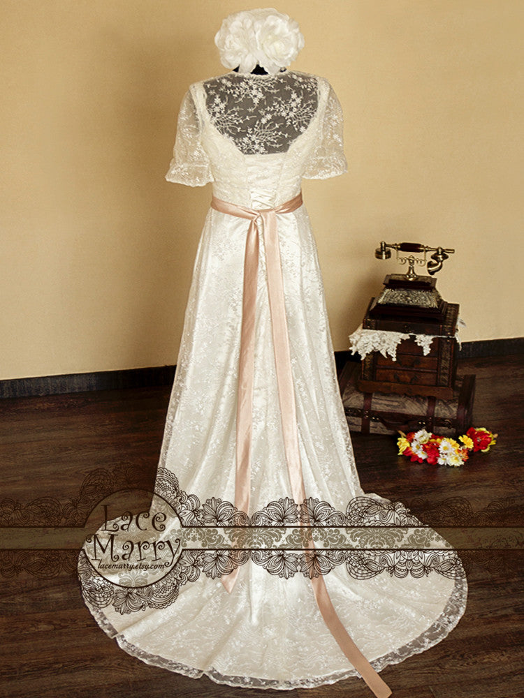 A Line Style Lace Wedding Dress with Bolero