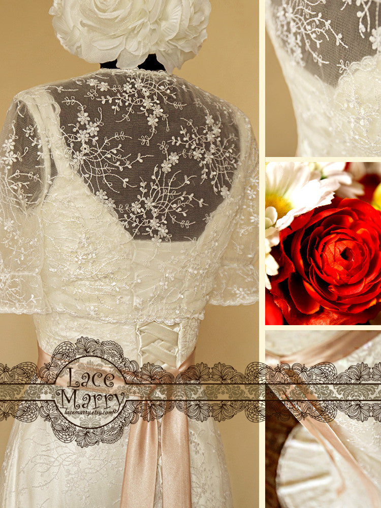 Soft Lace Bolero with Sheath Style Lace Wedding Dress