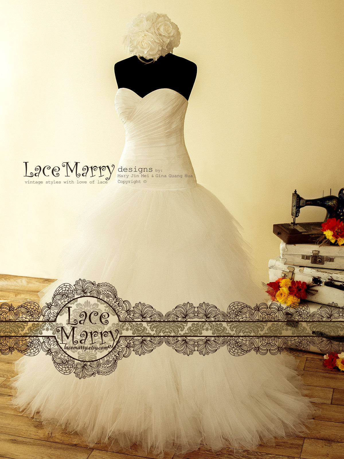 Ruffled Strapless Wedding Dress with Sweetheart Drop Waist Bodice