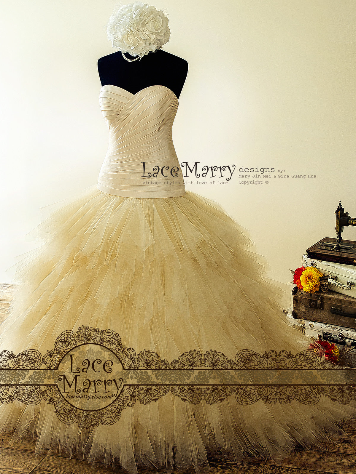 Ruffled Champagne Wedding Dress with Sweetheart Drop Waist