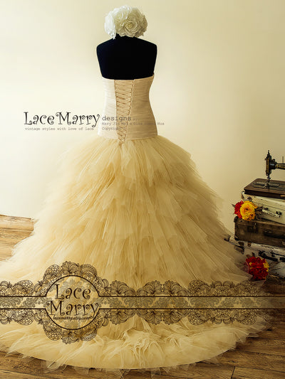 Champagne Wedding Dress with Lace Up Closure