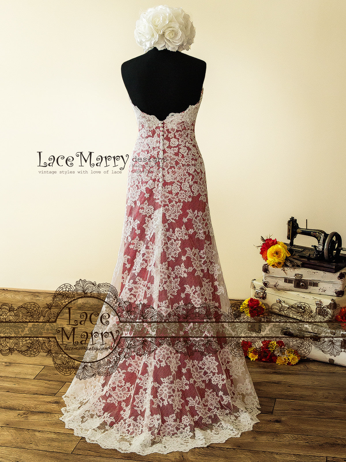 High Low Style Wedding Dress With Dark Red Underlay And Ivory Lace